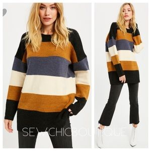 Color Block Long Oversized Sweater